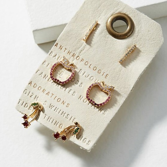 Anthropologie An Apple a Day Earring Set